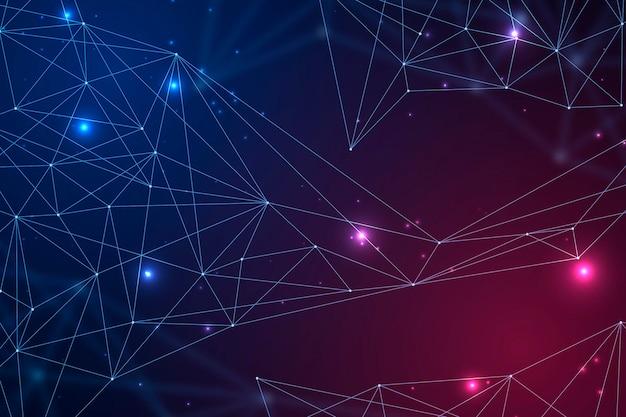 Fondo de conexión de red degradado vector gratuito