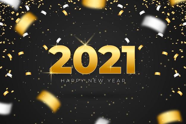 Fondo de confeti año nuevo 2021 Vector Premium