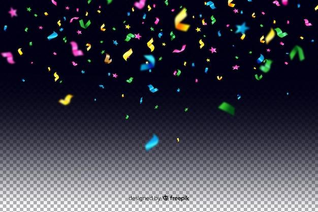 Fondo de confeti colorido realista vector gratuito