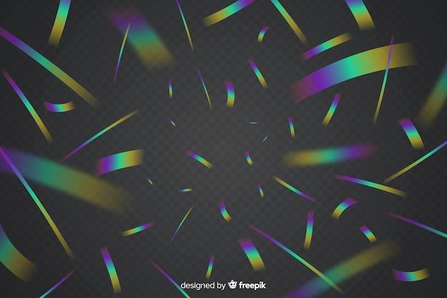 Fondo de confeti holográfico realista vector gratuito