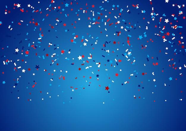 Fondo de confeti para vacaciones del 4 de julio vector gratuito