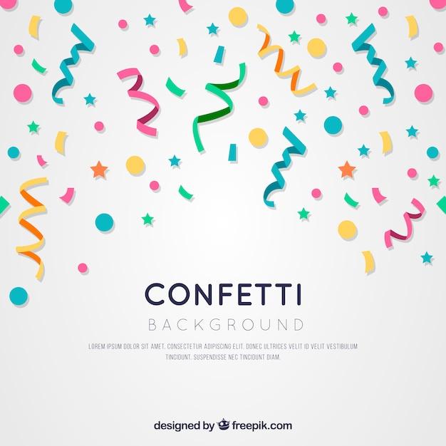 Fondo de confetti colorido en estilo plano Vector Premium