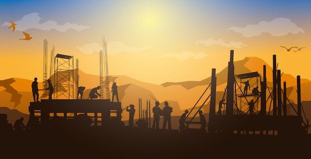 Fondo de construcción, gráficos de información de construcción, diseño de portada de libro. Vector Premium