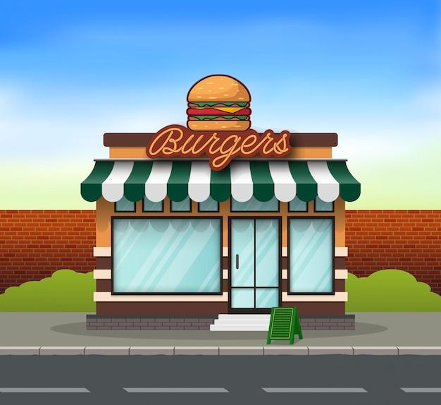 Fondo de construcción de hamburguesas Vector Premium