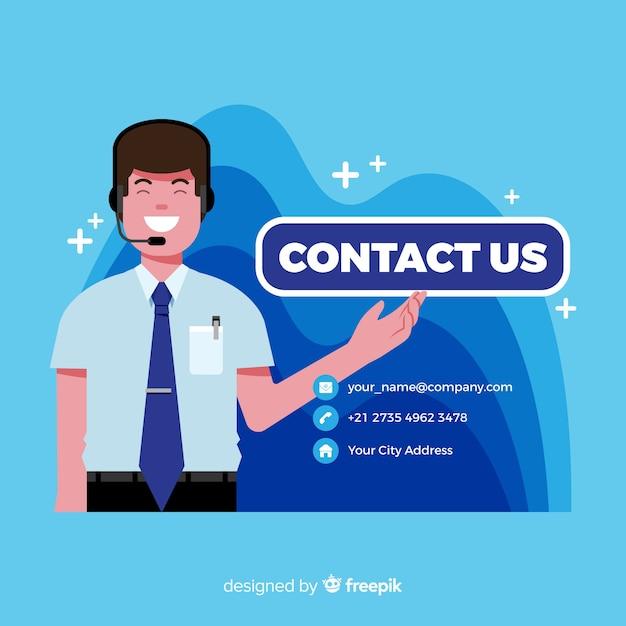 Fondo contacta con nosotros diseño plano vector gratuito