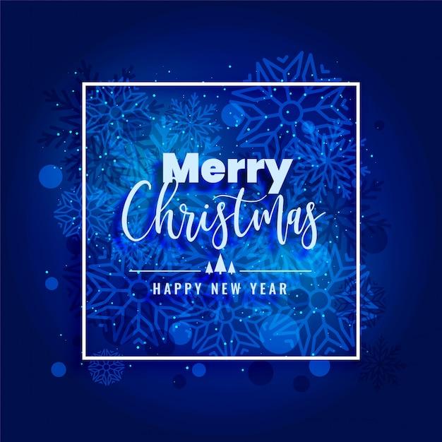 Fondo de copos de nieve feliz navidad azul hermoso vector gratuito