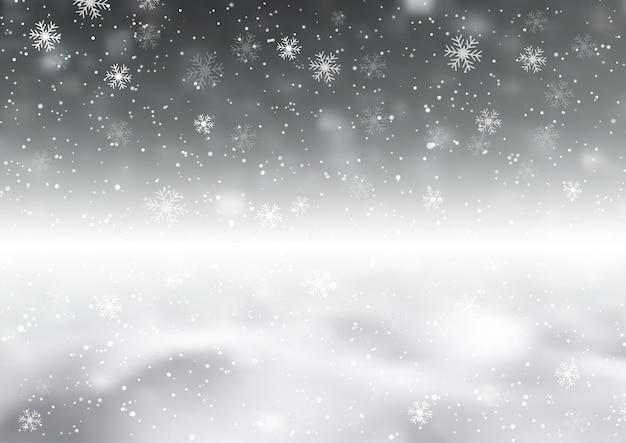 Fondo con copos de nieve vector gratuito