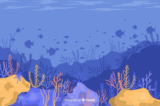 Fondo coral dibujado a mano vector gratuito