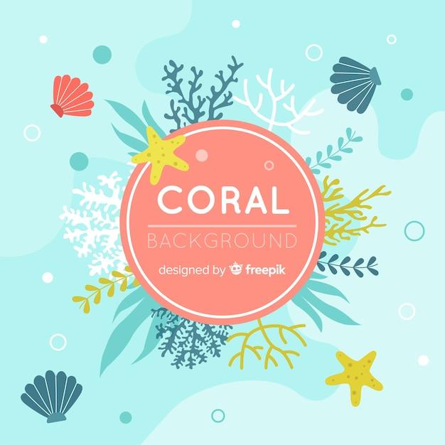Fondo de coral en diseño plano vector gratuito