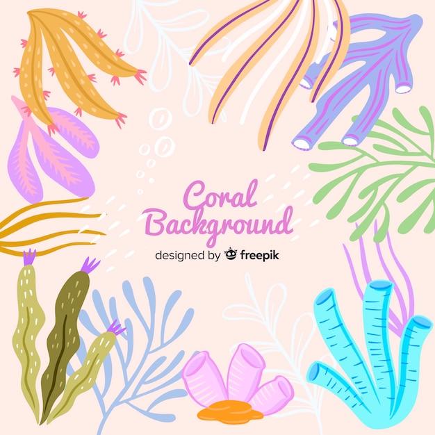 Fondo de corales dibujado a mano vector gratuito