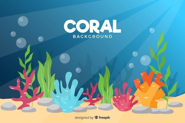 Fondo de corales en diseño plano vector gratuito