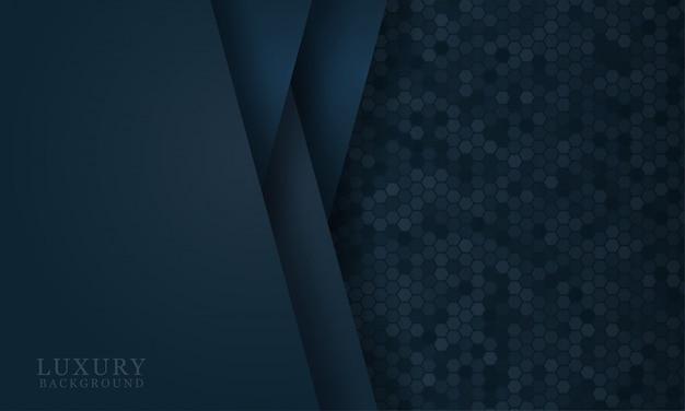 Fondo de corte de papel azul oscuro abstracto con formas simples. ilustración vectorial moderna para el diseño conceptual Vector Premium