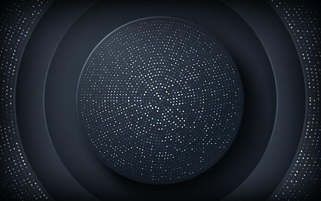 Fondo de corte de papel de círculo negro con brillos Vector Premium