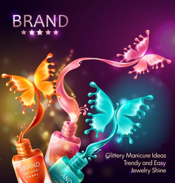 Fondo cosmético con mariposas de esmalte de uñas vector gratuito