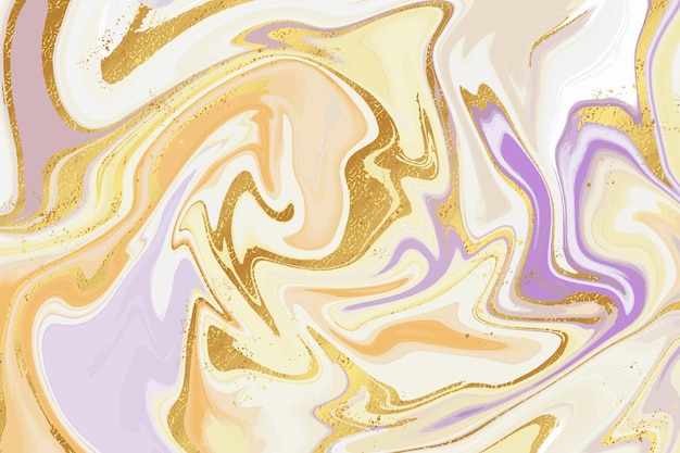 Fondo creativo de mármol líquido con textura dorada brillante vector gratuito