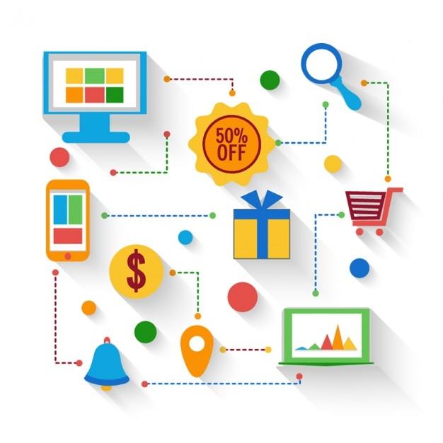 Fondo creativo con el proceso de compras en l nea for Compra online mobili