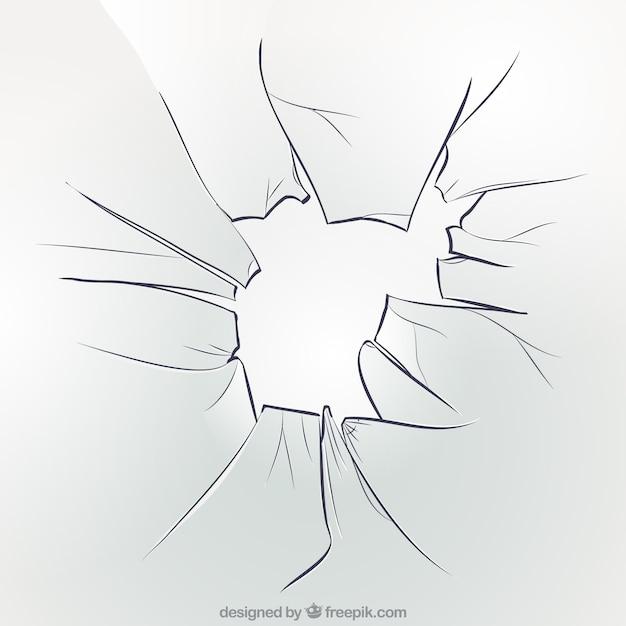 Fondo de cristal roto en estilo realista vector gratuito