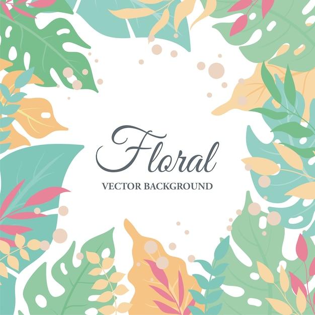 Fondo cuadrado de hojas exóticas tropicales, hojas lindas y composición floral Vector Premium