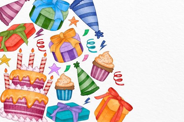 Fondo de cumpleaños acuarela con pastel y regalos vector gratuito