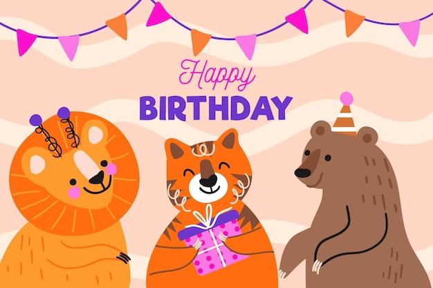 Fondo de cumpleaños dibujado a mano con animales vector gratuito