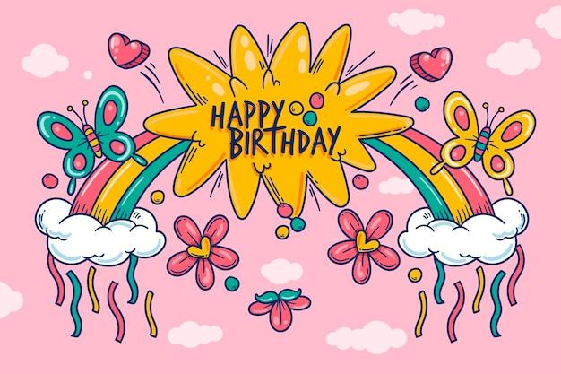 Fondo de cumpleaños dibujado a mano con arco iris vector gratuito