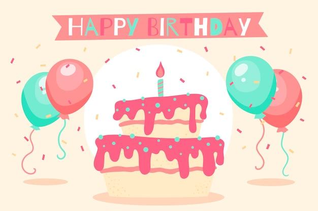 Fondo de cumpleaños dibujado a mano con pastel y globos vector gratuito