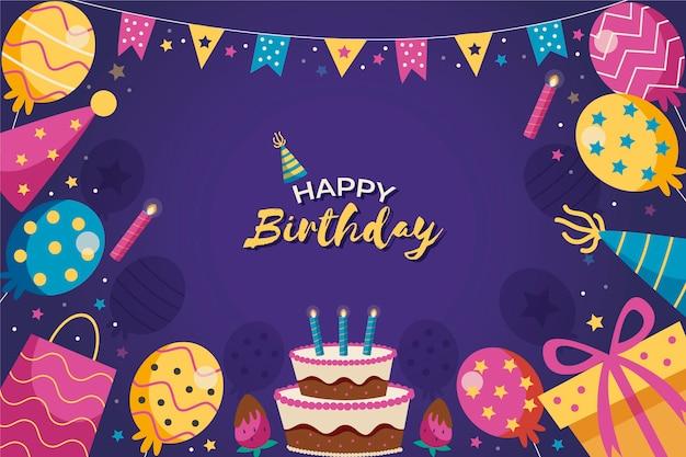 Fondo de cumpleaños dibujado a mano Vector Premium