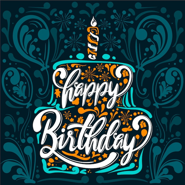 Fondo de cumpleaños dibujado a mano vector gratuito