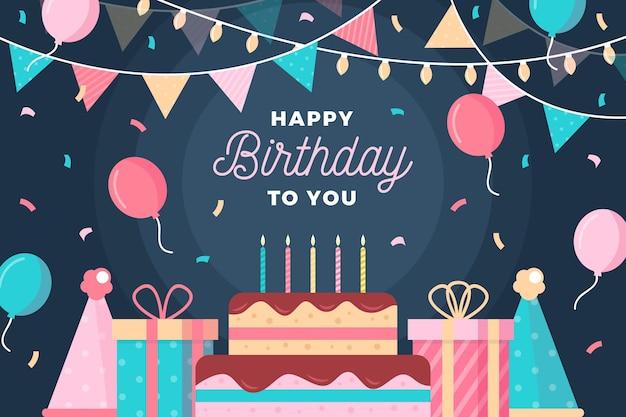 Fondo de cumpleaños de diseño plano Vector Premium
