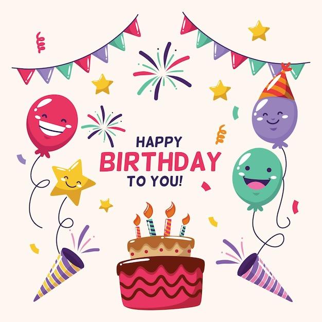 Fondo de cumpleaños en diseño plano Vector Premium