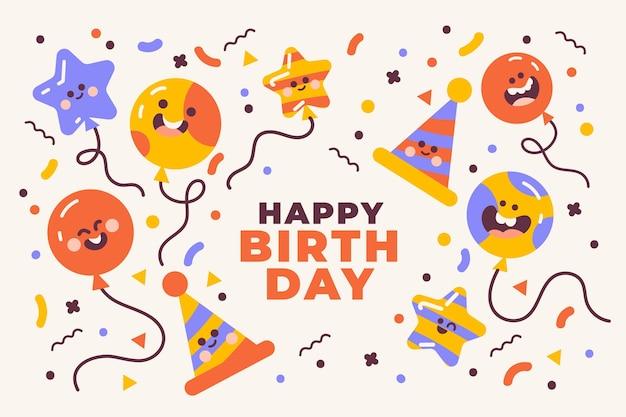 Fondo de cumpleaños de diseño plano vector gratuito