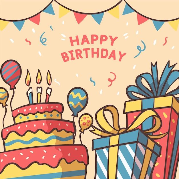 Fondo de cumpleaños de estilo dibujado a mano vector gratuito