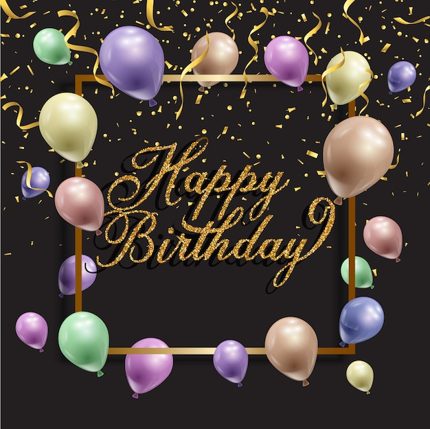 Fondo de cumpleaños con globos y confeti. vector gratuito