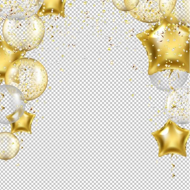 Fondo de cumpleaños con globos estrella de oro Vector Premium