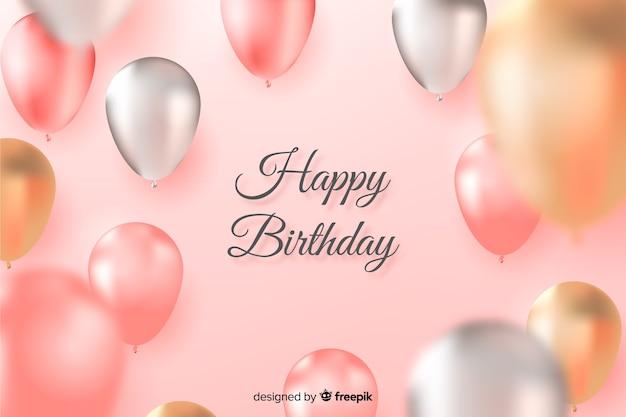 Fondo de cumpleaños con globos realistas diseñados vector gratuito