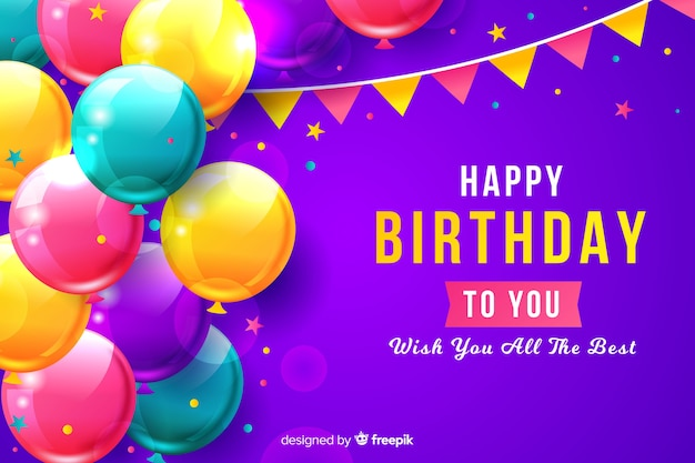 Fondo de cumpleaños con globos realistas vector gratuito