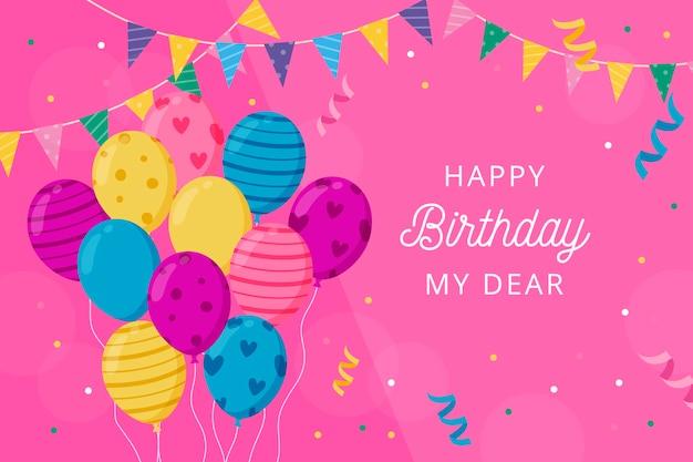 Fondo de cumpleaños con globos y saludo vector gratuito