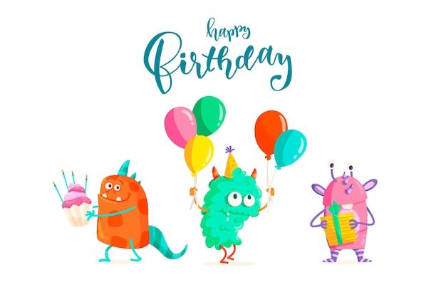 Fondo de cumpleaños con letras vector gratuito