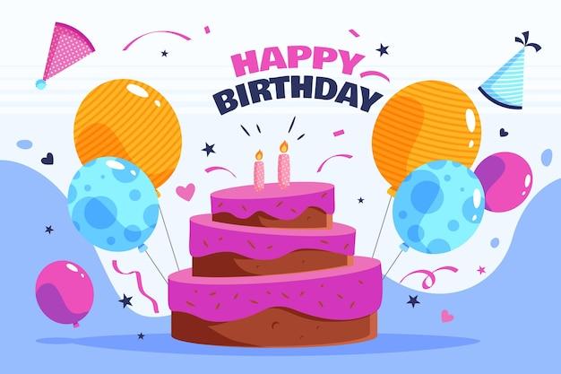 Fondo de cumpleaños con pastel y globos vector gratuito