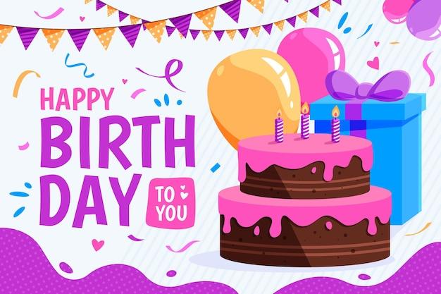 Fondo de cumpleaños con pastel Vector Premium