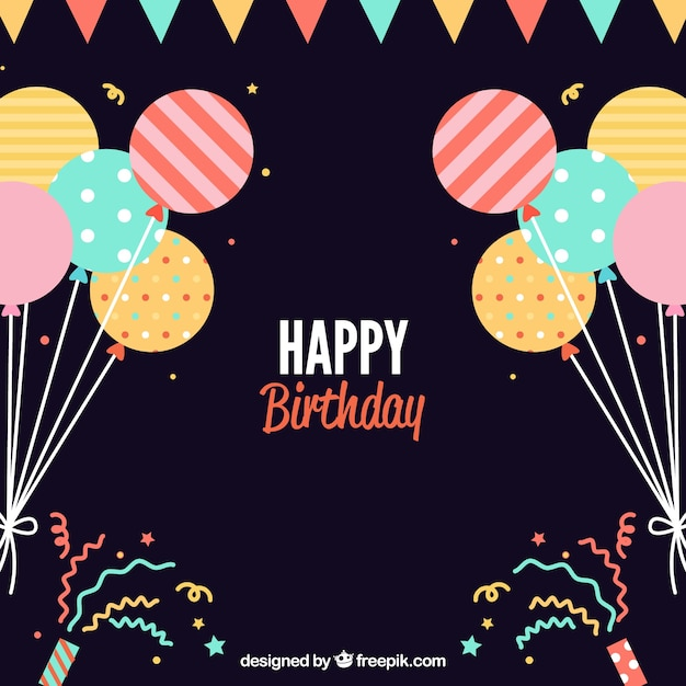 Fondo De Cumpleaños Plano Con Balones Decorativos Descargar