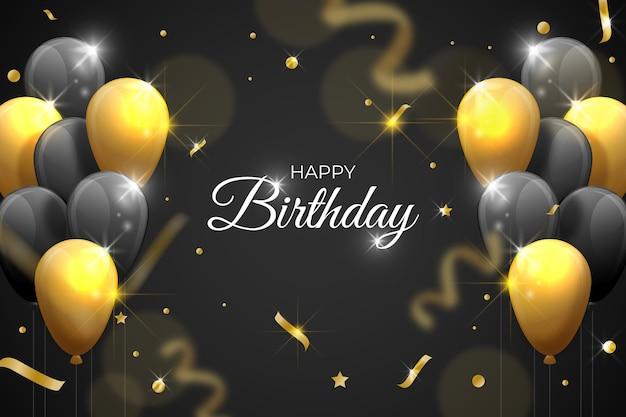 Fondo de cumpleaños realista con globos vector gratuito