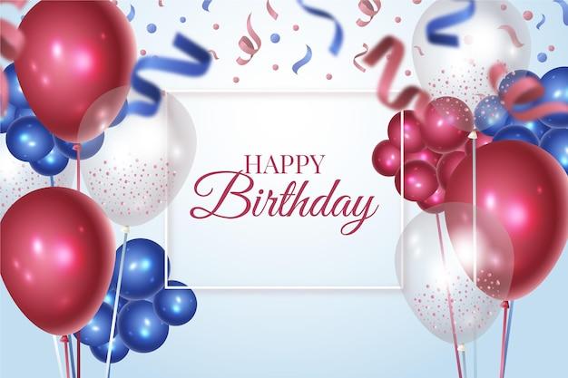 Fondo de cumpleaños realista Vector Premium