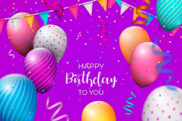 Fondo de cumpleaños realista vector gratuito