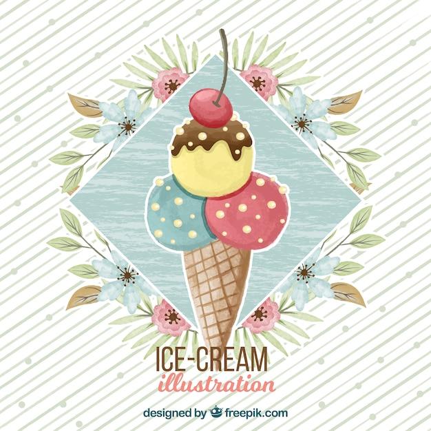 fondo de acuarela con helado y decoracin floral vector gratis