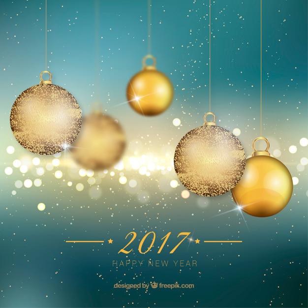 fondo de ao nuevo con bolas doradas de navidad
