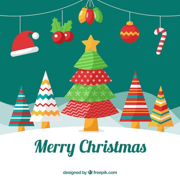 Fondo de rbol de navidad con elementos decorativos - Decorativos para navidad ...