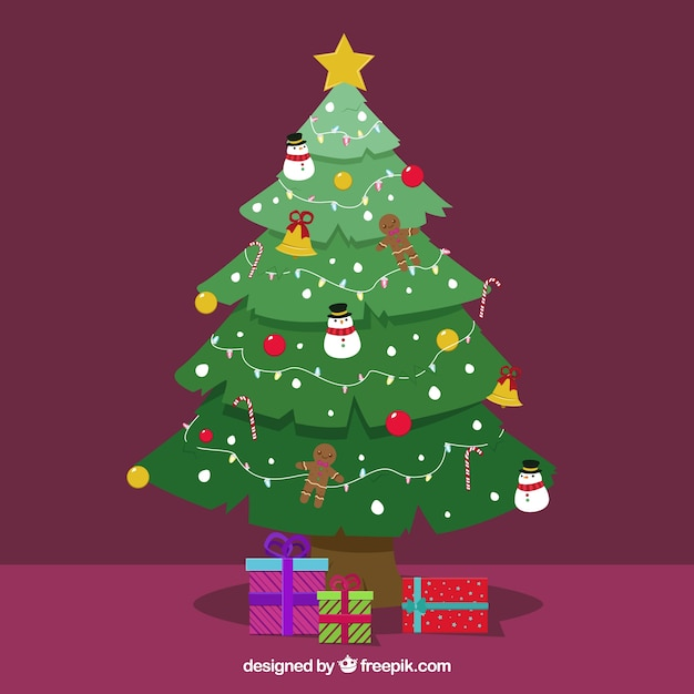 Fondo de rbol de navidad con regalos descargar vectores - Arbol de navidad con regalos ...