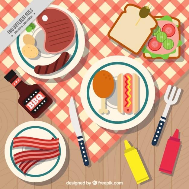 Fondo de barbacoa y picnic con platos descargar vectores - Platos para picnic ...