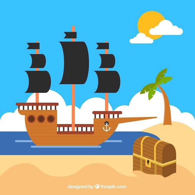 Fondo de barco pirata con cofre en diseño plano | Descargar Vectores ...